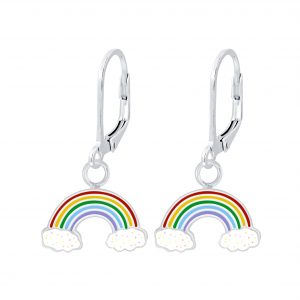 Wholesale Silver Rainbow Lever Back Earrings