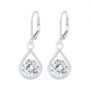 Wholesale Silver Tear Drop Lever Back Earrings