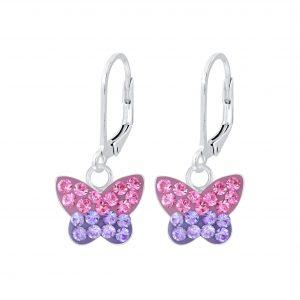 Wholesale Silver Butterfly Lever Back Earrings