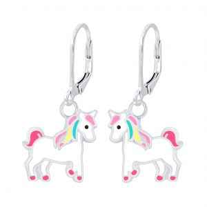 Wholesale Silver Unicorn Lever Back Earrings