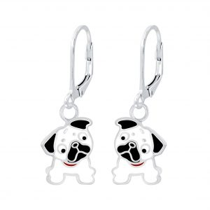 Wholesale Silver Bulldog Lever Back Earrings