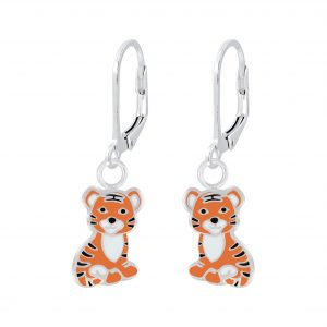 Wholesale Silver Tiger Lever Back Earrings