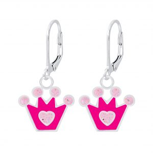 Wholesale Silver Crown Lever Back Earrings