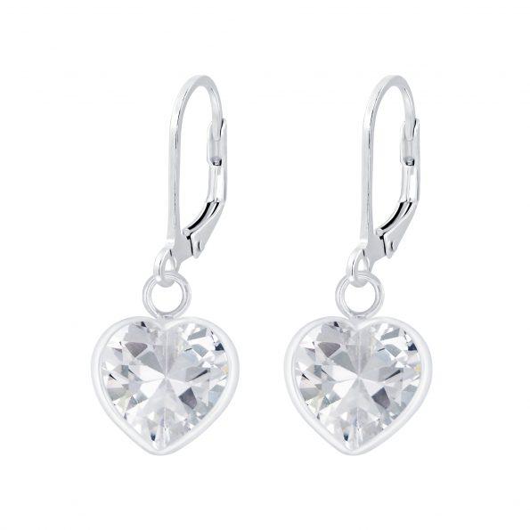 Wholesale Silver Heart Cubic Zirconia Lever Back Earrings