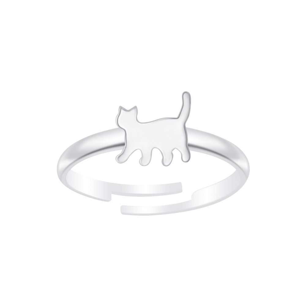 Wholesale Silver Cat Adjustable Ring
