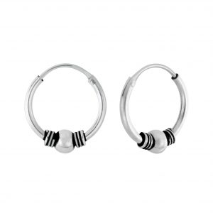Wholesale 12mm Silver Bali Hoops