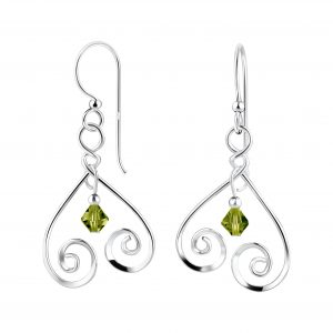 Wholesale Silver Spiral Earrings with Crystals Bead