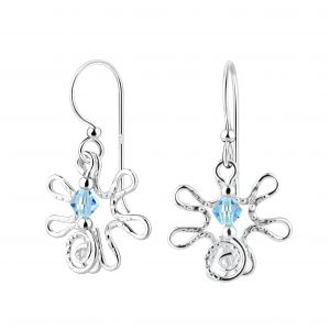 Wholesale Silver Flower Earrings with Crystals Bead