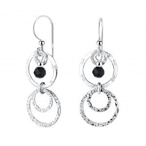 Wholesale Silver Circle Earrings with Glass Bead