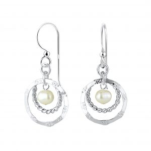 Wholesale Silver Circle Earrings with Fresh Water Pearl