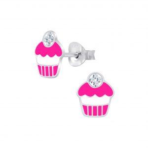 Wholesale Silver Cupcake Stud Earrings