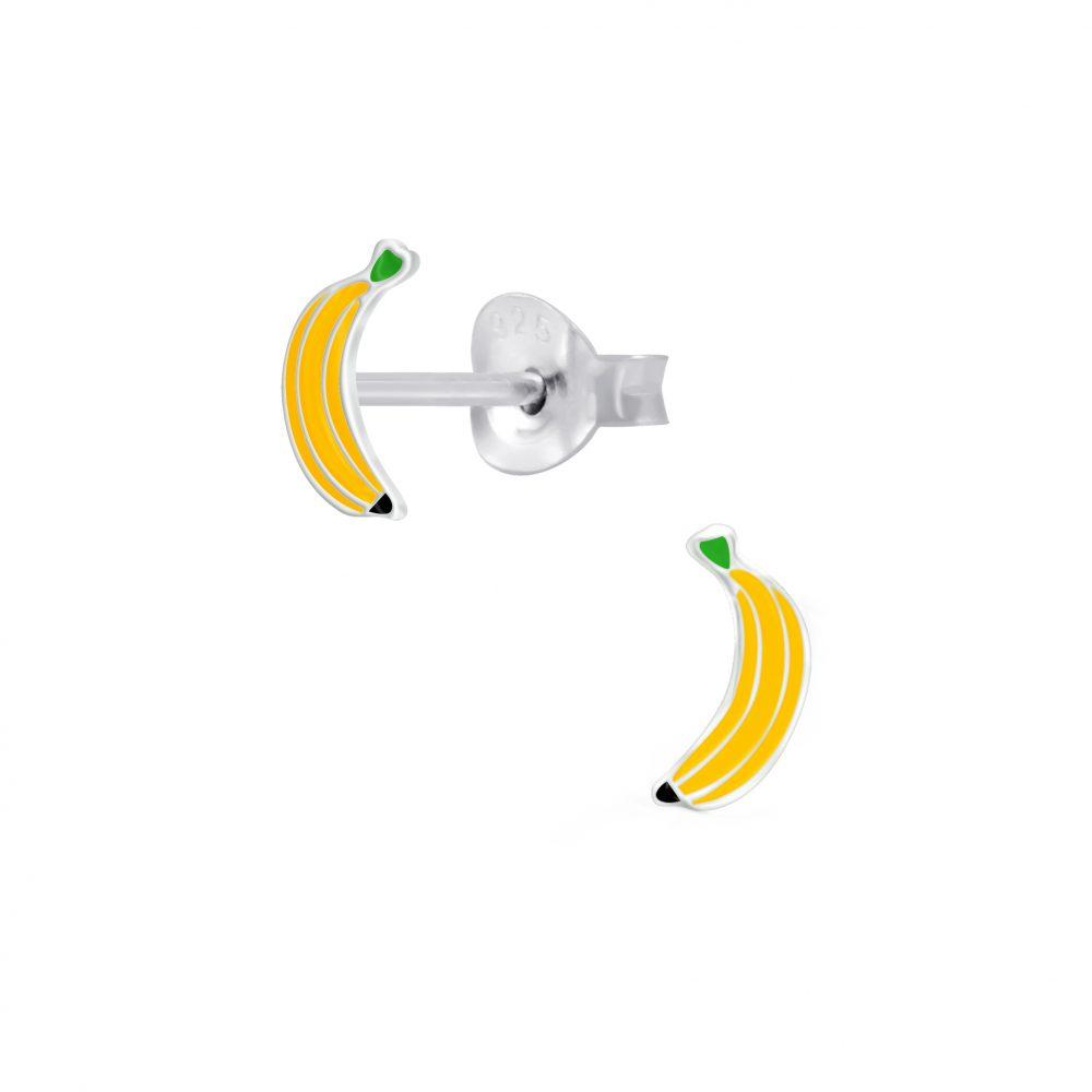 Wholesale Silver Banana Stud Earrings
