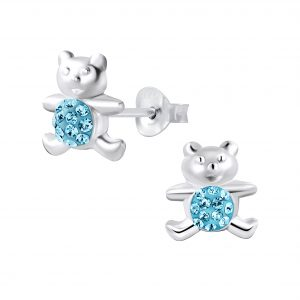 Wholesale Silver Crystal Bear Stud Earrings