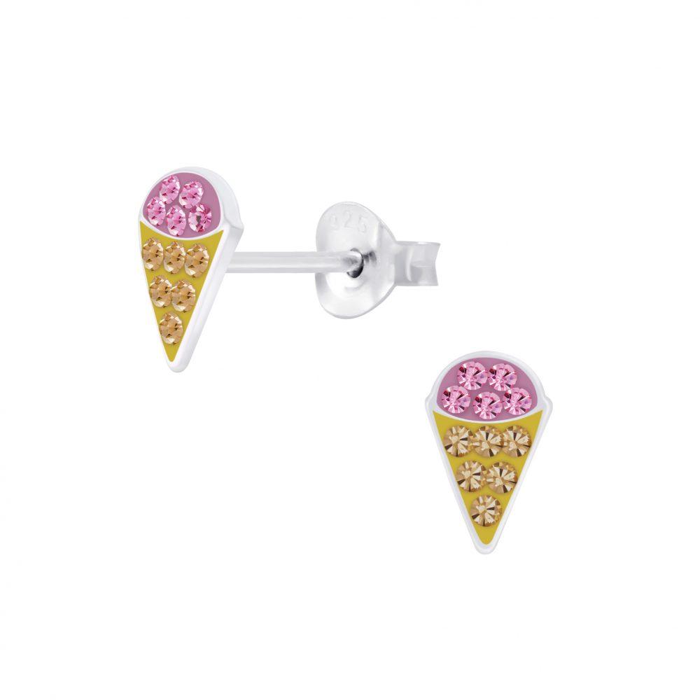 Wholesale Silver Ice cream Stud Earrings