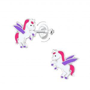 Wholesale Silver Winged Unicorn Screw Back Earrings