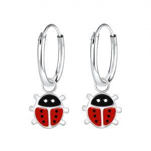 Wholesale Silver Ladybug Charm Hoop Earrings