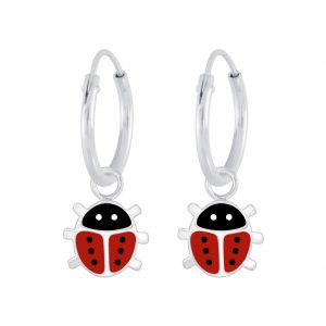 Wholesale Silver Ladybug Charm Hoop Earrings