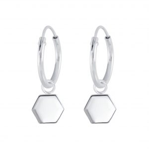 Wholesale Silver Hexagon Charm Hoop Earrings