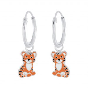 Wholesale Silver Tiger Charm Hoop Earrings