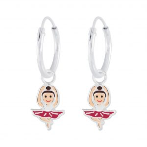Wholesale Silver Ballerina Charm Hoop Earrings