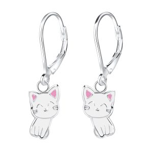 Wholesale Silver Cat Lever Back Earrings