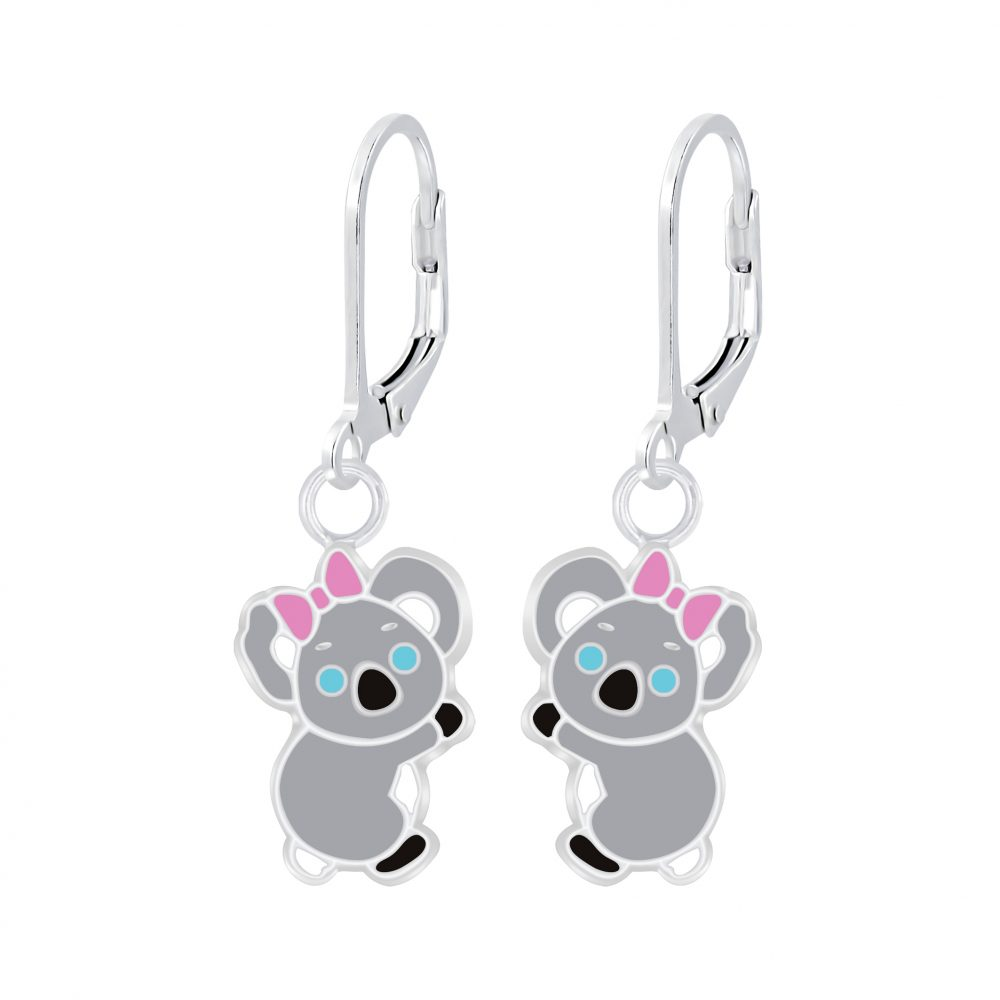 Wholesale Silver Koala Lever Back Earrings