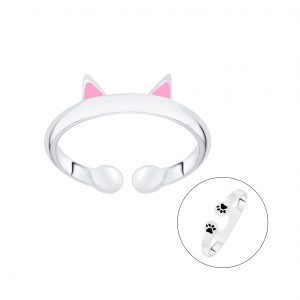 Wholesale Silver Cat Open Ring