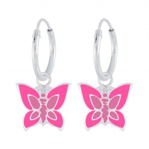 Wholesale Silver Butterfly Charm Hoop Earrings