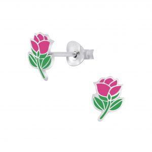Wholesale Silver Rose Stud Earrings