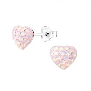 Wholesale Silver Heart Crystal Stud Earrings