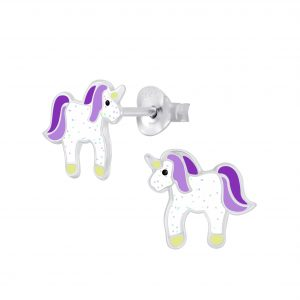 Wholesale Silver Unicorn Stud Earrings