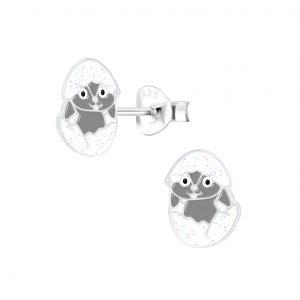 Wholesale Silver Hatching Egg Stud Earrings