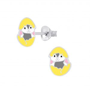 Wholesale Silver Hatching Egg Stud Earrings