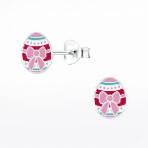 Wholesale Silver Easter Egg Stud Earrings