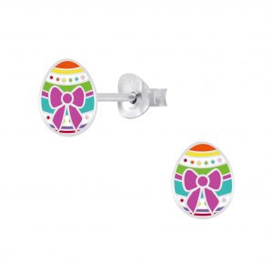 Wholesale Silver Easter Egg Stud Earrings
