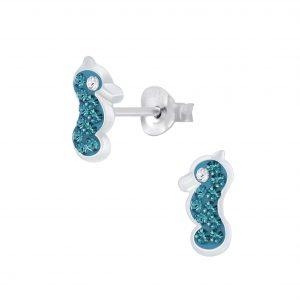 Wholesale Silver Seahorse Crystal Stud Earrings