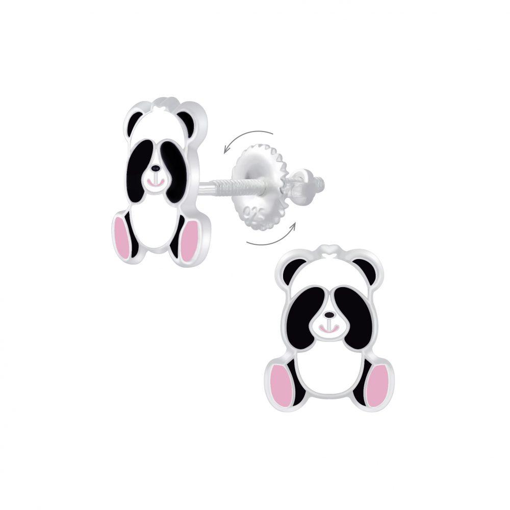 Wholesale Silver Panda Screw Back Earrings