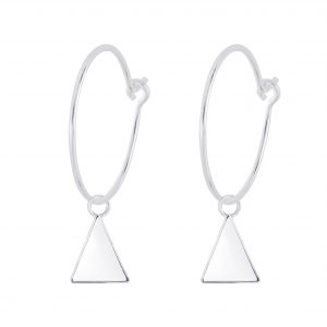 Wholesale Silver Triangle Charm Hoop Earrings