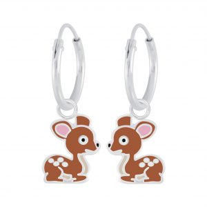 Wholesale Silver Deer Charm Hoop Earrings