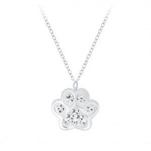 Wholesale Silver Paw Print Necklace