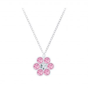 Wholesale Silver Flower Crystal Necklace