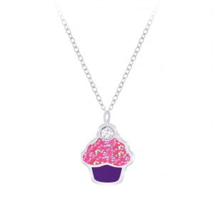 Wholesale Silver Cupcake Necklace