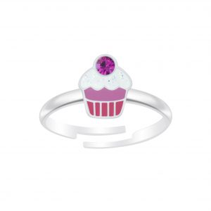 Wholesale Silver Cupcake Adjustable Ring