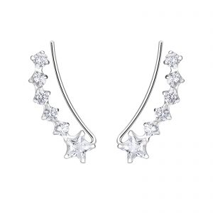 Wholesale Silver Curved Line Cubic Zirconia Ear Climbers