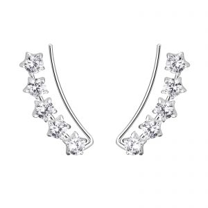 Wholesale Silver Star Cubic Zirconia Ear Climbers