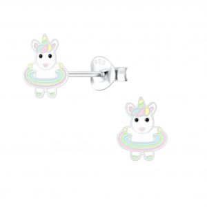 Wholesale Silver Hula Hooping Unicorn Stud Earrings