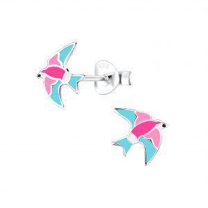 Wholesale Silver Bird Stud Earrings