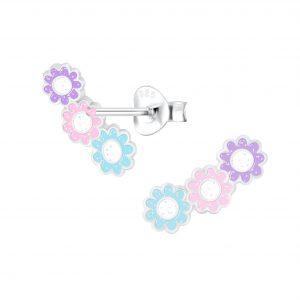 Wholesale Silver Triple Daisy Stud Earrings
