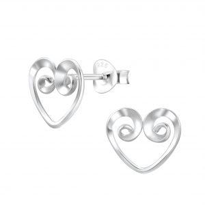 Wholesale Silver Spiral Heart Stud Earrings