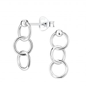 Wholesale Silver Triple Circle Stud Earrings